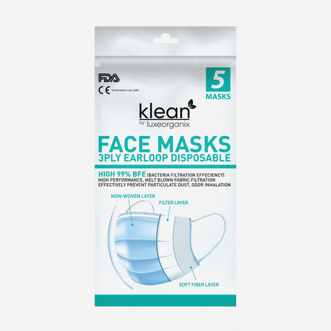 Klean By Luxe Organix Adults' 5-Pack 3-Ply Disposable Face