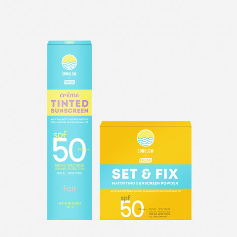 Sunglow By Fresh Creme Tinted Sunscreen 50Ml - Fair And Sunscreen Powder 10G Bundle
