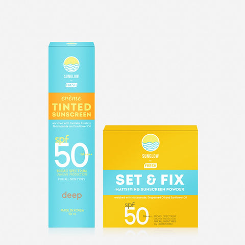 Sunglow By Fresh Creme Tinted Sunscreen 50Ml - Deep And Sunscreen Powder 10G Bundle