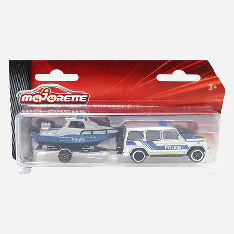 Majorette Trailer Boat Police Blue Die Cast Vehicle Toy For Boys