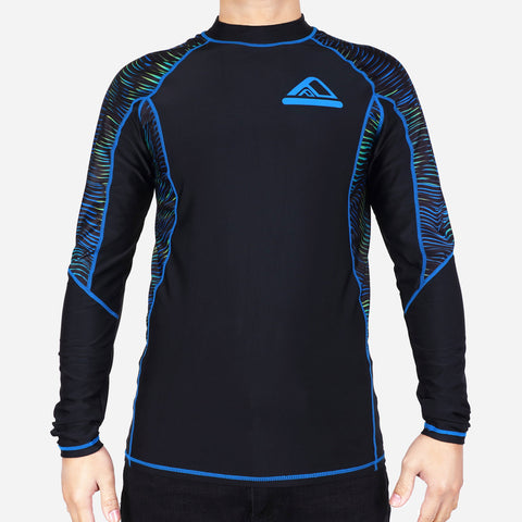 Smartbuy Men's Rashguard Printed Sleeve Plain Body in Black