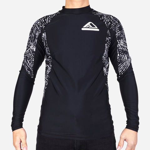 Smartbuy Men's Rashguard Printed Sleeves in Black and Gray Combi