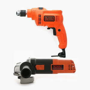 Black And Decker 100MM Small Angle Grinder And 10MM Variable Speed Hammer Drill Combo Kit TP555G720