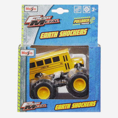 Maisto Fresh Metal Earth Shockers Student Bus (Yellow) Die Cast Vehicle For Boys