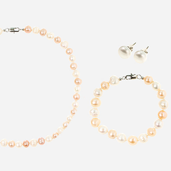 Glynyz Apricot and White Freshwater Egg Pearls Set