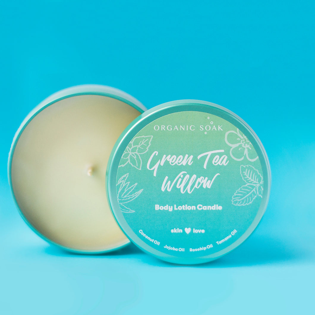 Green Tea and Willow Body Oil Scented Candle