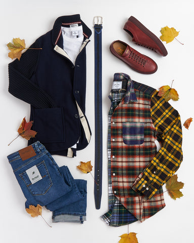 Portuguese Flannel Patchwork Shirt Outfit
