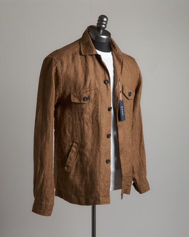 Eton Brown Linen Twill Relaxed Fit Overshirt