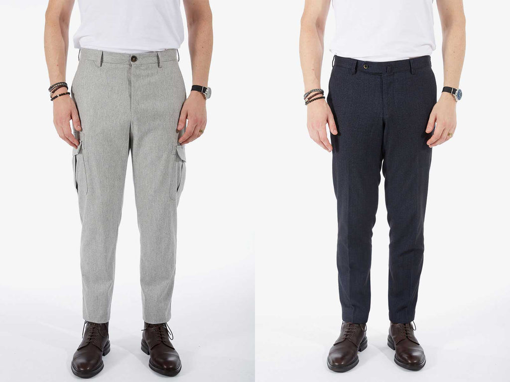 Side by side images of models wearing a pair of grey pants and a pair of dark blue pants