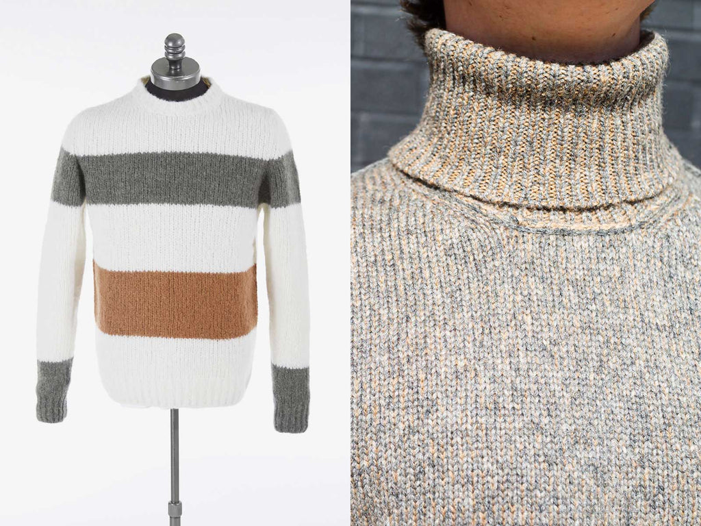Side by side image of sweater and close up of a turtle neck
