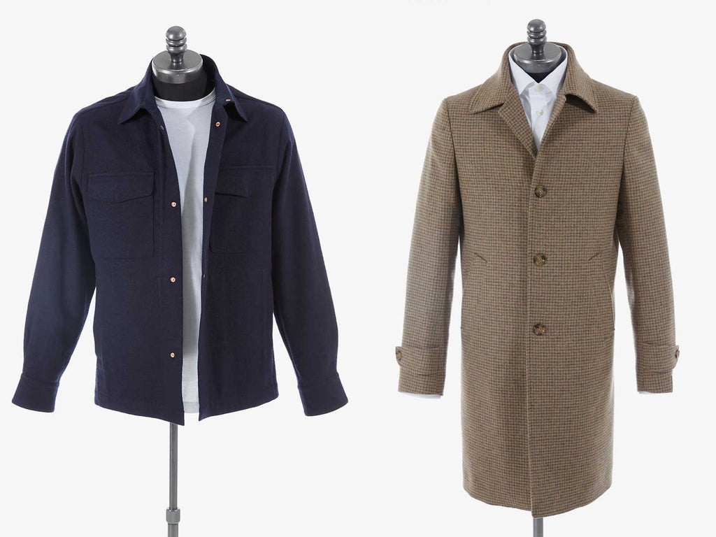 Side by side pictuers of a lightweight Fall jacket and a long coat