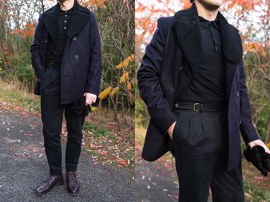 Side by side images of model wearing Private White V.C.'s Shearling Collar Peacoat