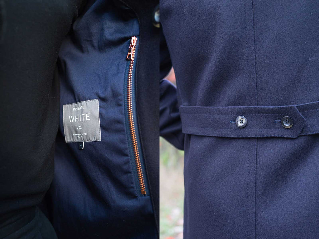 Side by side images of detail shots from Private White V.C.'s Shearling Collar Peacoat