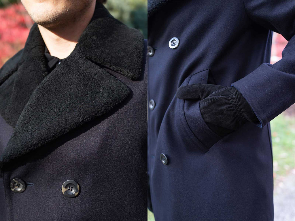 Side by side images of details for Private White V.C.'s Shearling Collar Peacoat
