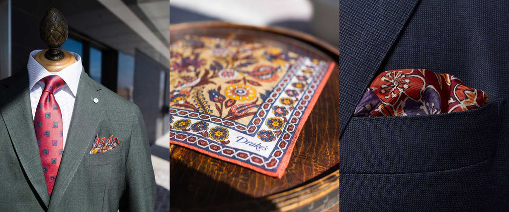 Collage of 3 pictures of pocket squares
