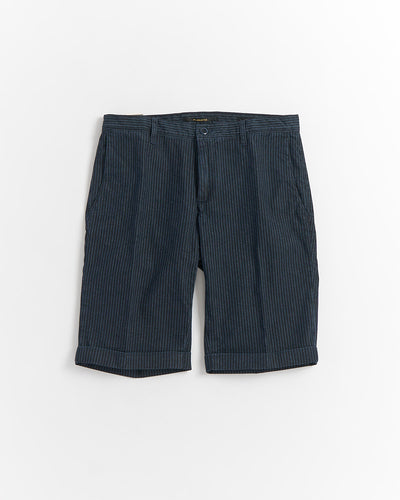 Alberto 'ROB-K' Blue Indigo Dyed Striped Bermuda Shorts