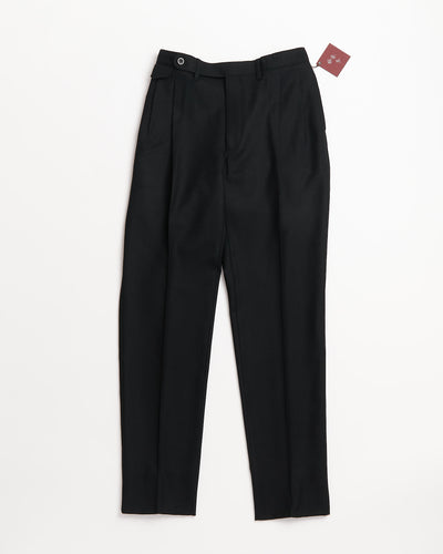 Echizenya Black Flannel Wool Tech Double Pleat Pants, Made in Japan