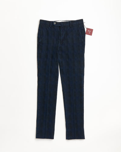 Echizenya Denim Washed Jacquard Shadow Check Pants