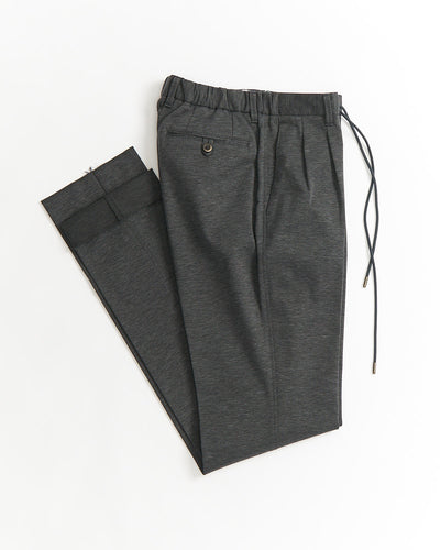 Echizenya Grey Heather Jersey Cotton Drawstring Slim Pants
