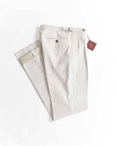 Echizenya Cotton Linen White Chambray Relaxed Fit Double Pleat Side Tab Trousers