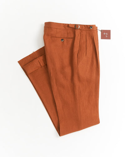 Echizenya Burnt Orange Linen Relaxed Fit Double Pleat Side Tab Pants