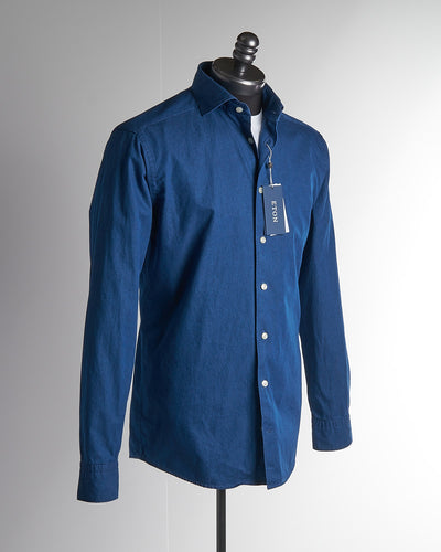 Eton Mid Blue Denim Slim Fit Shirt 980184580-28