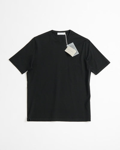 Filippo De Laurentiis Black Washed Cotton Crewneck T-shirt