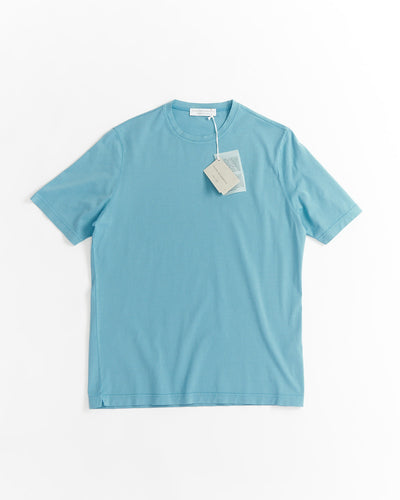 Filippo De Laurentiis Light Blue Washed Cotton Crewneck T-shirt