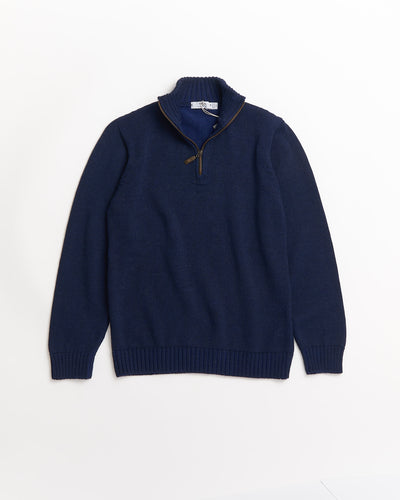 Inis Meáin Navy Wool Alpaca Plated Zip Mock Sweater A1974-93