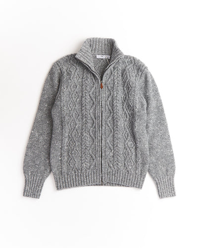 Inis Meáin Donegal Grey Wool Cashmere Aran Cable Zip Cardigan A2045-LONGFORD