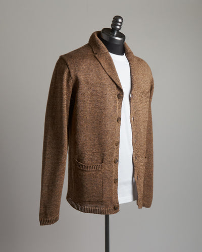 Inis Meáin Marled Linen Skate Brown 'Pub Jacket' Sweater Cardigan