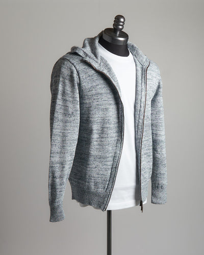 Inis Meáin Washed Linen Harabell Marled Blue Zip Hoodie Sweater