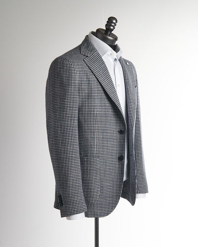 L.B.M. 1911 Blue Cotton Houndstooth Unlined Soft Sport Jacket