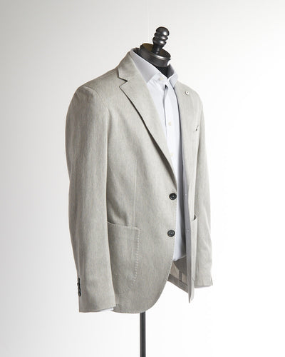 L.B.M. 1911 Silver Grey Flax & Cotton Herringbone Soft Sport Jacket