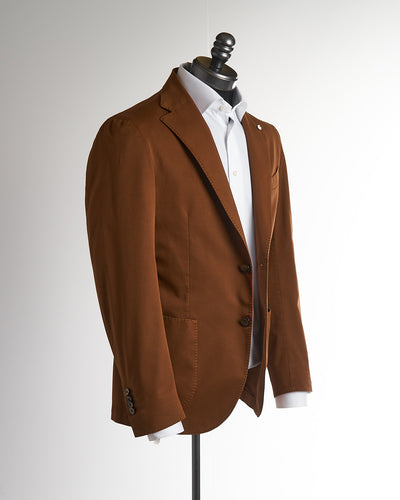 L.B.M. 1911 Rust Brown Cotton Stretch Twill Soft Sport Jacket