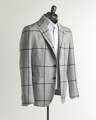 L.B.M. 1911 Grey-Navy Cotton Windowpane Soft Sport Jacket
