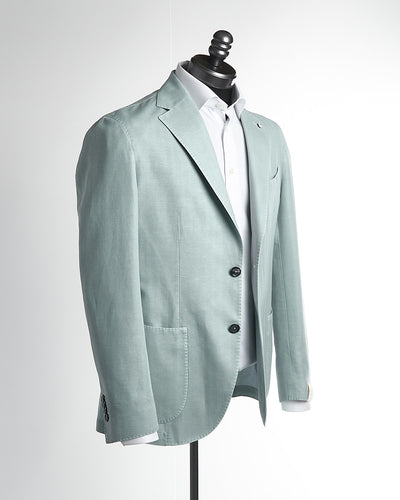 L.B.M. 1911 Light Blue Cotton Linen Herringbone Sport Jacket