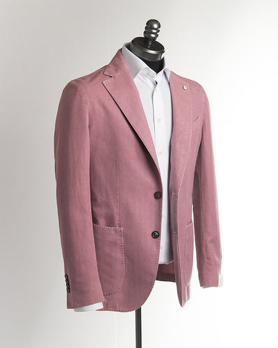 L.B.M. 1911 Soft Pink Cotton-Linen Herringbone Sport Jacket