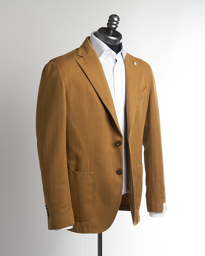 L.B.M. 1911 Tobacco Brown Cotton-Linen Herringbone Sport Jacket