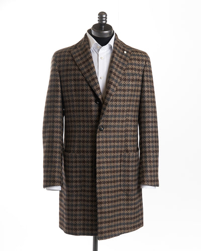 Luigi Bianchi Mantova Brown Exploded Hounstooth Wool Cashmere Topcoat 73821-7008