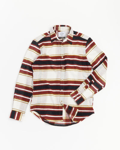 Portuguese Flannel Striped Flannel Shirt AW20006-BURGUNDY