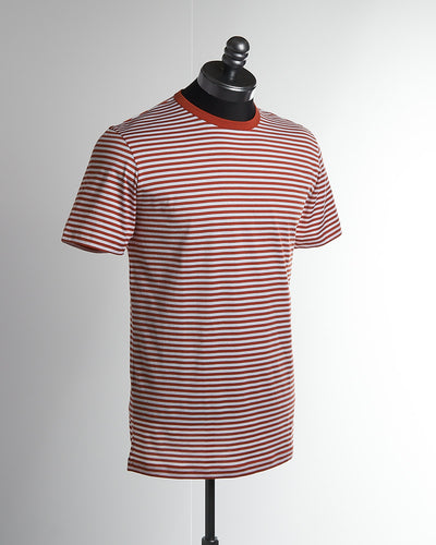 Sunspel Short Sleeve Red White Striped Crew Neck T-Shirt