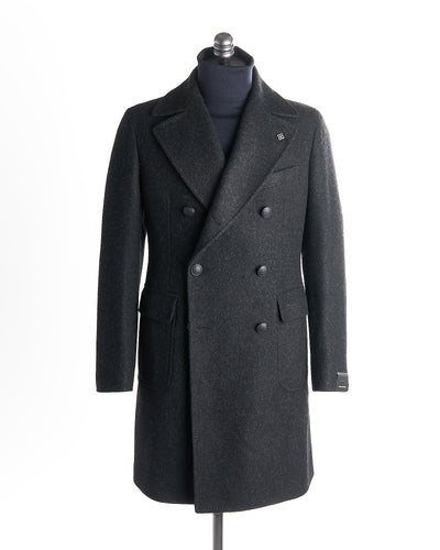 Tagliatore Midnight Double Breasted Plush Wool Top Coat 61UIC117-B3108