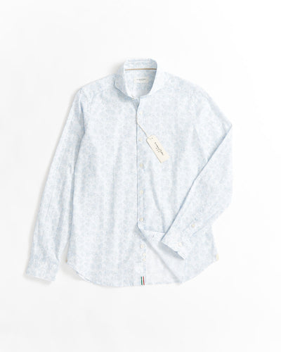 Tintoria Mattei Blue Dot & Floral Print Cotton Linen Shirt