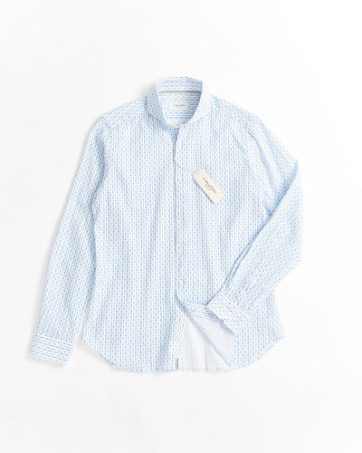 Tintoria Mattei Light Blue Printed Cotton Linen Stripe Shirt