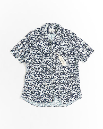 Tintoria Mattei Blue Geometric Print Viscose Camp Collar Shirt