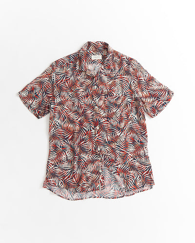 Tintoria Mattei Red Palm Leaves Print Viscose Camp Collar Shirt