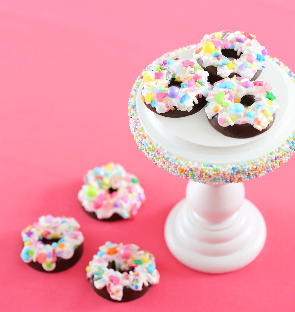 Candy Chocolate Doughnuts with Sprinkles | www.bakerspartyshop.com