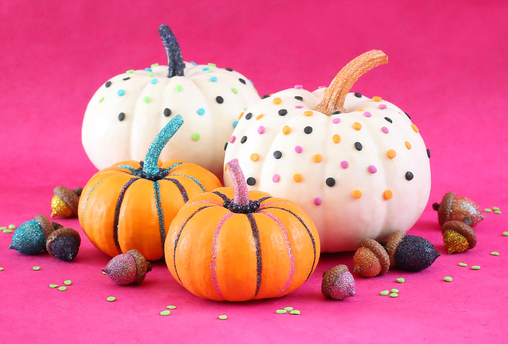 Decorating Pumkins with Sprinkles and Glitter