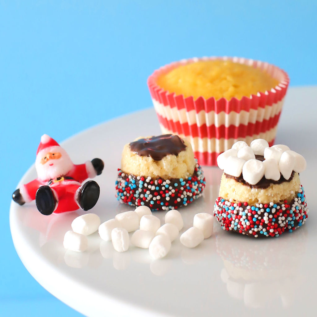 Christmas Cupcakes with Rice Krispie Toppers | www.bakerspartyshop.com